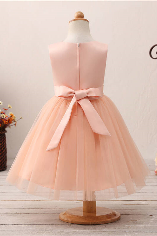 Cute Lace Appliques Toddler Peach Flower Girl Dress with Bowknot
