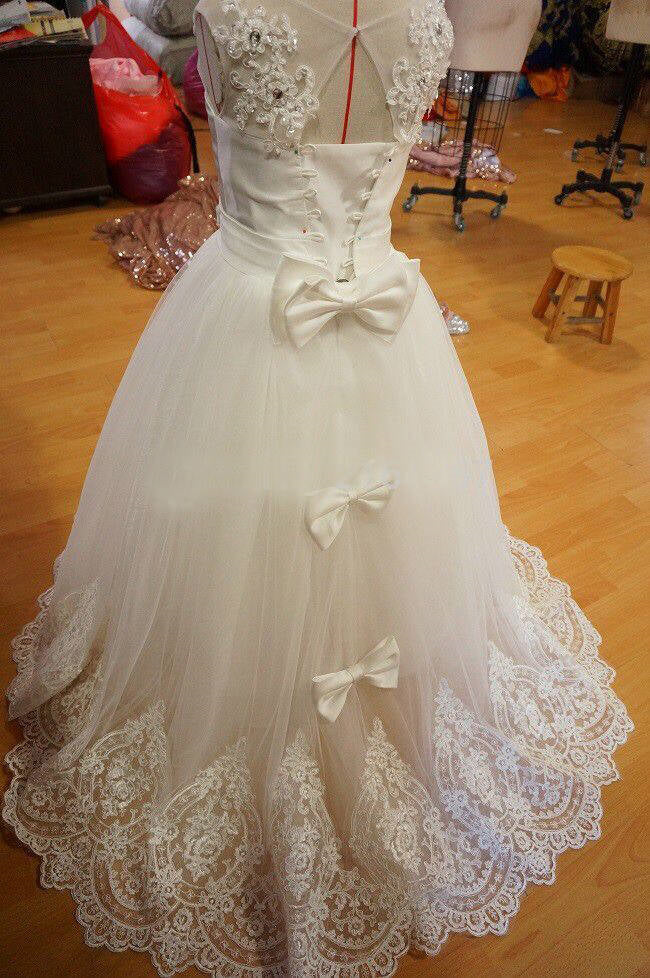 Chic Lace Edge Beaded Ivory Flower Girl Dress with Bow