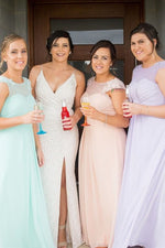 A-line Jewel Mis Colored Bridesmaid Dress with Lace Appliques