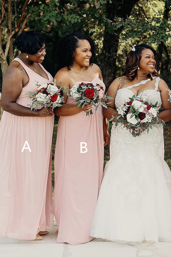 Mismatached A-line Pale Pink Chiffon Bridesmaid Dress
