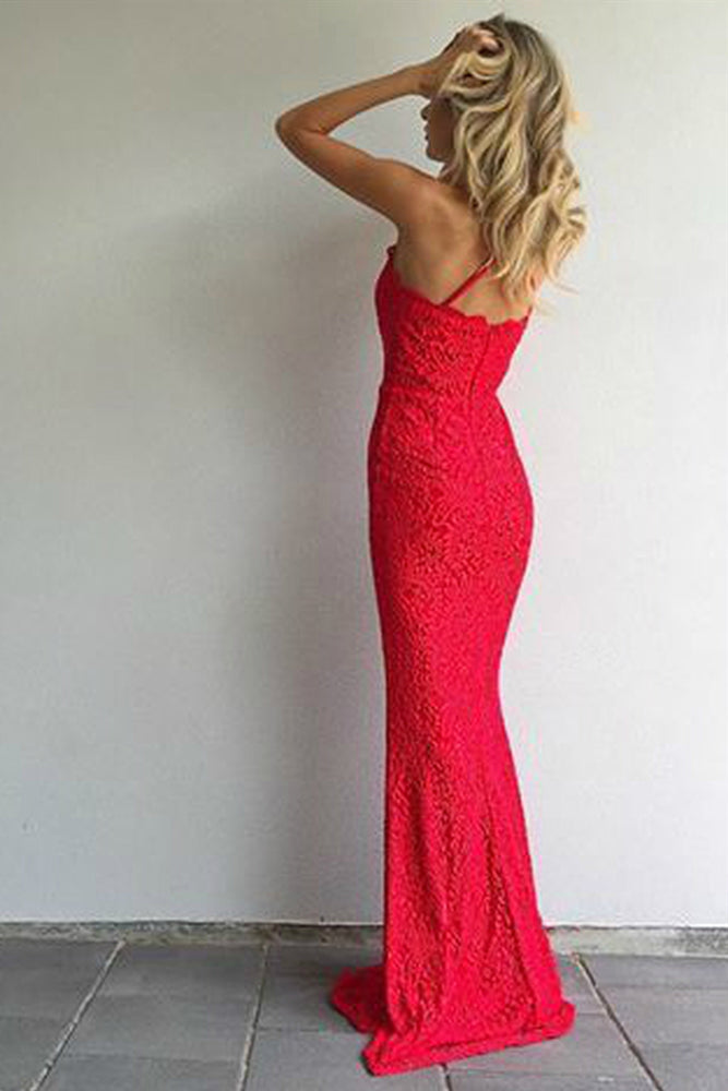 Sheath Mermaid Straps Red Lace Prom Evening Dress