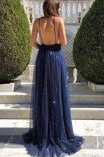 Deep V-Neck Open Back Navy Blue Evening Dress