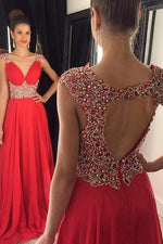 Luxurious Beads V-Neck Red Long Formal Evening Dress