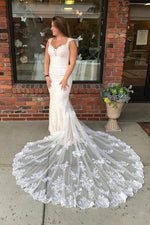 Long Mermaid Lace Strap Ivory Wedding Dress with Train