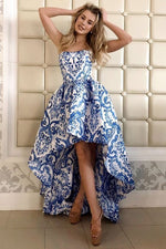 High Low Strapless Floral Blue and White Prom Dress