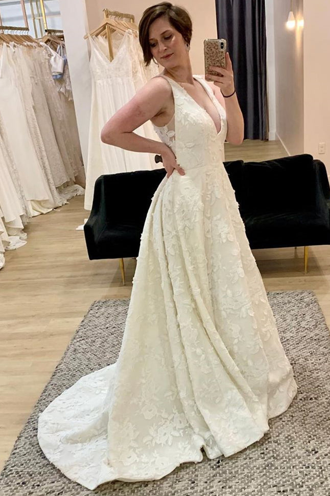 V-Neck A-line Ivory Long Wedding Dress with Lace