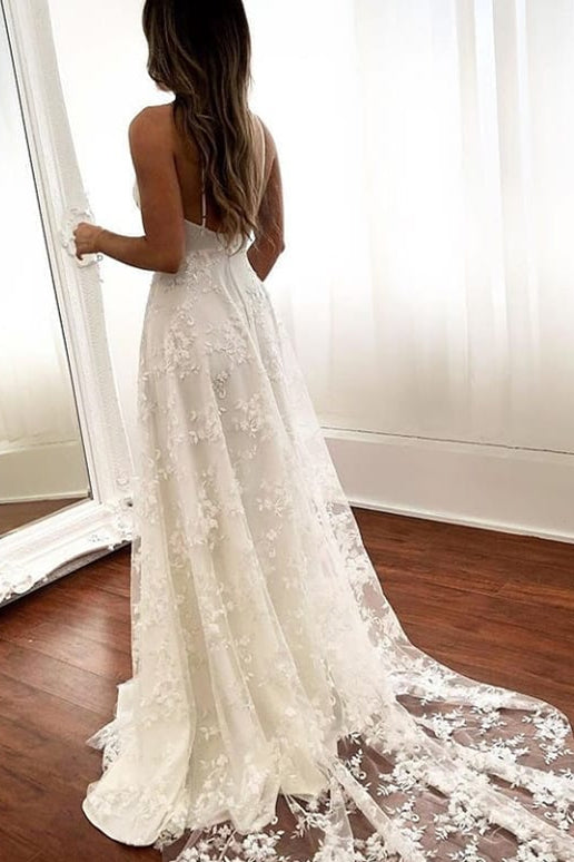 V-Neck Open Back Long White Bridal Dress with Slit