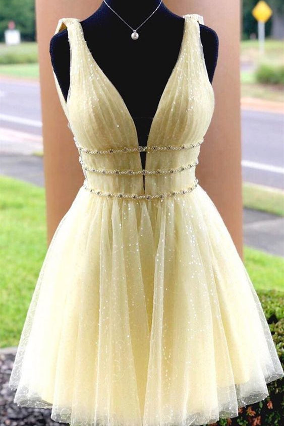 Glitter Short Yellow Sequined Homecoming Dress with Belts