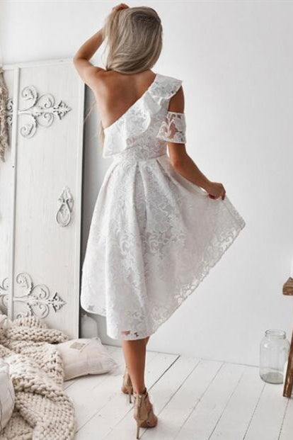 High Low Ruffles One Shoulder White Lace Bridesmaid Dress