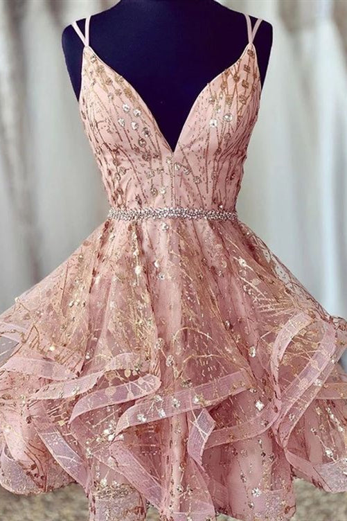 Glitter V-Neck Short Blush Homecoming Dress with Ruffles