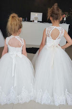 Cute Poofy White Flower Girl Dress with Lace