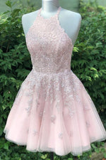 Halter Lace-Up back Short Pink Lace Homecoming Dress