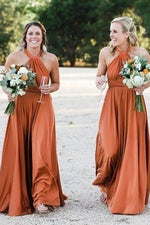 A-line Halter Long Copper Bridesmaid Dress