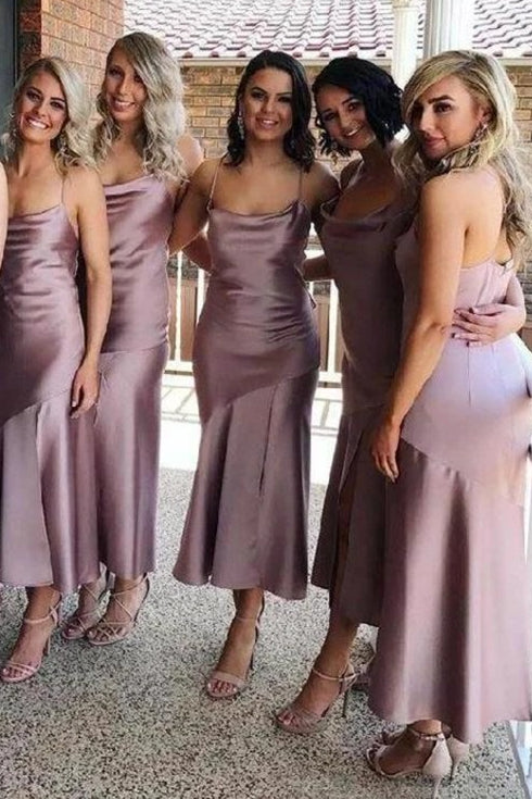 Cowl Neck Mermaid Long Mauve Bridesmaid Dress with Slit