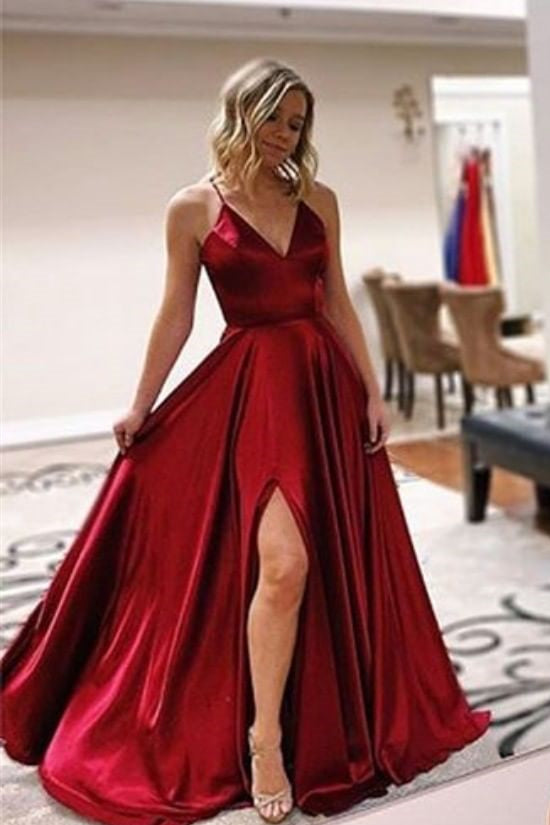 Lace-Up Back A-line Brugundy Long Prom Dress with Slit