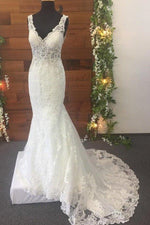 Mermaid V-Neck Long White Lace Wedding Dress with Train