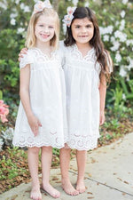 Rustic Short Sleeves White Flower Girl Dress