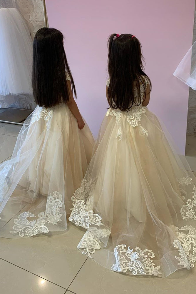 Cap Sleeves Ivory Flower Girl Dress with Lace Appliques