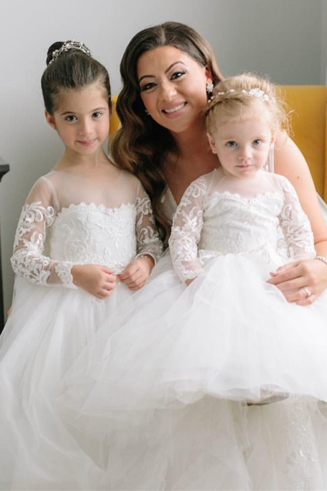Princess Jewel Long Sleeves White Flower Girl Dress with Lace