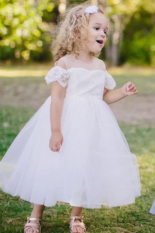 Cute Lace Sleeves Jewel Neck White Flower Girl Dress