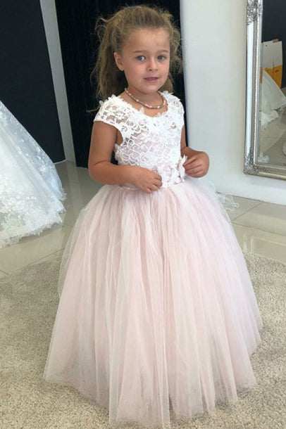 Cute White and Pink Flower Girl Dress with Lace Bodice'