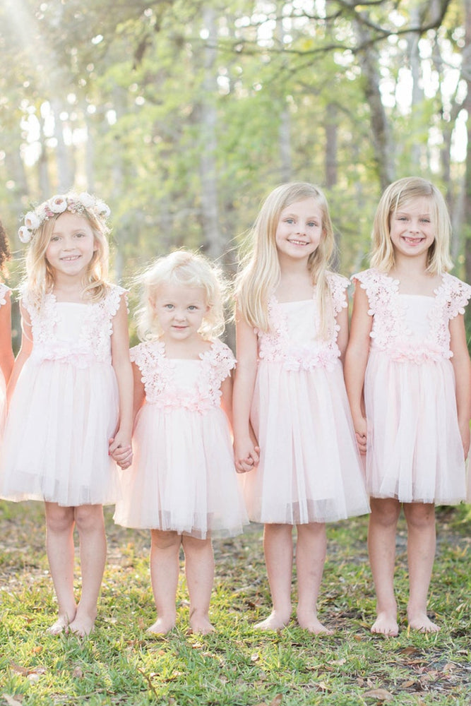 Cute Pink Flower Girl Dress with Lace Top