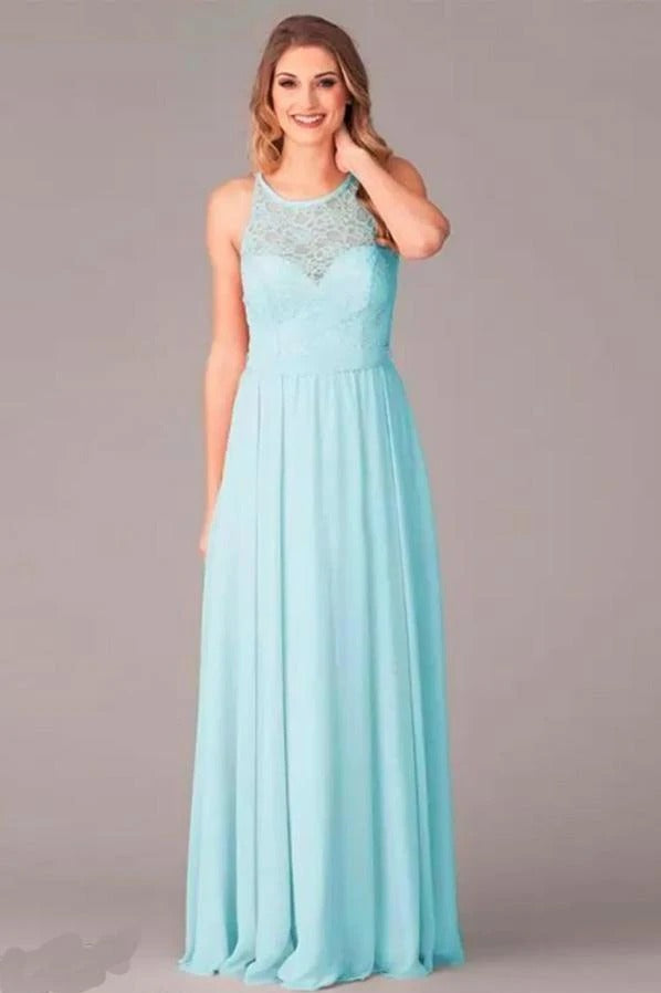 A-line Lace Top Mint Green Bridesmaid Dress with Ribbon