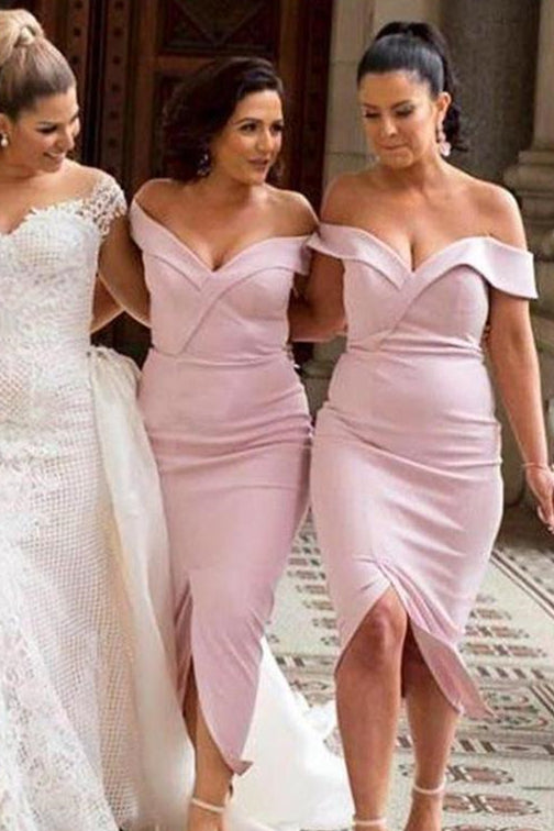 Mermaid Off Shoulder Pink Bridesmaid Dress with Slit Front
