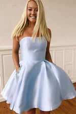 Strapless Short Light Blue Homecoming Dress with Beaded Pockets