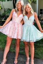 A-line Straps Short Lace Homecoming Dress