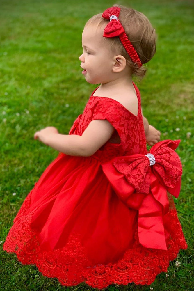 Cute Toddler Red Flower Girl Dress with Bowknot