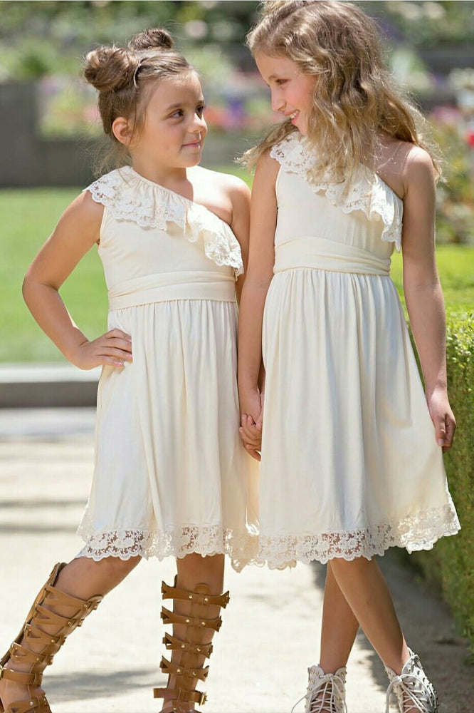 One Shoulder Ivory Flower Girl Dress with Lace Ruffles