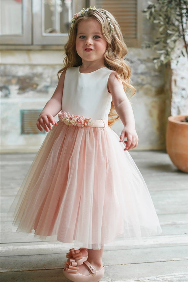 Cute Chic White and Pink Flower Girl Dress with Floral Belt