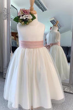 Chic Long White Flower Girl Dress with Pink Belt