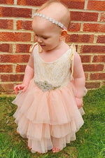 Gold and Pink Toddler Flower Girl Dress with Beads