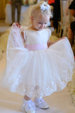 Lovely Toddler White Flower Girl Dress with Pink Bow