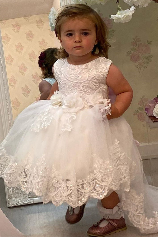 3D Flowers White Lace Flower Girl Dress with Pink Bow