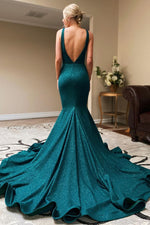 Dark Teal V-Neck Mermaid Long Prom Evening Dress with Slit