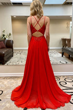 A-line Red Long Chiffon Prom Dress with Beads