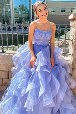 Lace-Up Back Lavender Long Prom Dress with Cascading Ruffles