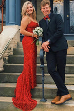 Lace-Up Back Mermaid Red Long Prom Dress with Beads