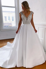 V-Neck Long White Wedding Dress with Silver Beads