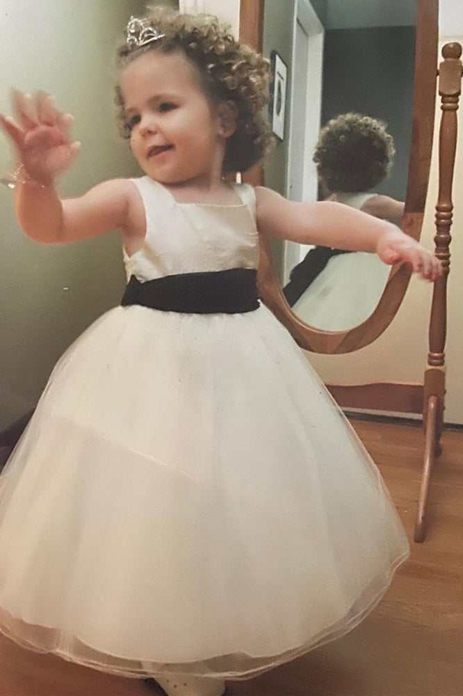 Cute Square Neck Toddler Ivory Flower Girl Dress with Ribbon