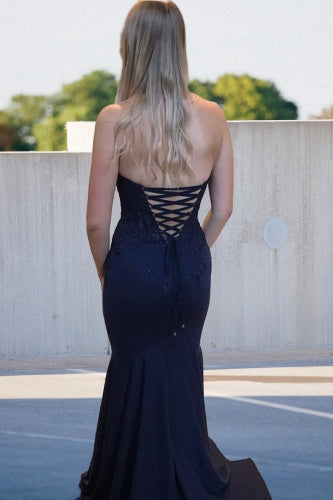 Lace-Up Back Mermaid Halter Navy Blue Prom Dress with Lace