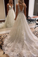 Rustic A-line V-Neck Ivory Wedding Dress with Appliques