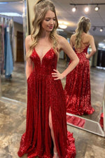 Lace-Up Back V-Neck Long Red Sequin Prom Dress with Slit