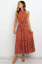 Free Shipping High Neck Long Dotted Summer Dress with Ribbon