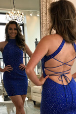 High Neck Beaded Sheath Royal Blue Homecoming Dress