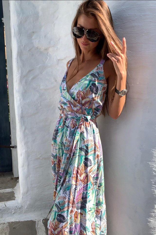 V-Neck Multi-Colored Summer Dress with Slit