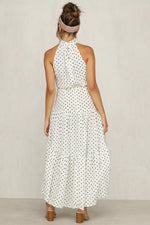 High Neck Polka Dot Long White Summer Dress